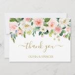 Elegant Blush Pink Gold Floral Wedding Thank You
