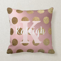 Elegant  Blush Pink Gold Polka Dot Monogram Name Throw Pillow