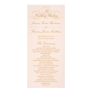 Elegant Blush Pink & Gold Wedding Program Template