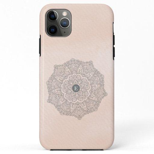 Elegant Blush Pink Gray Mandala Monogram Boho Case