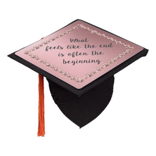 Elegant Blush Pink Inspirational Graduation Quote Graduation Cap Topper
