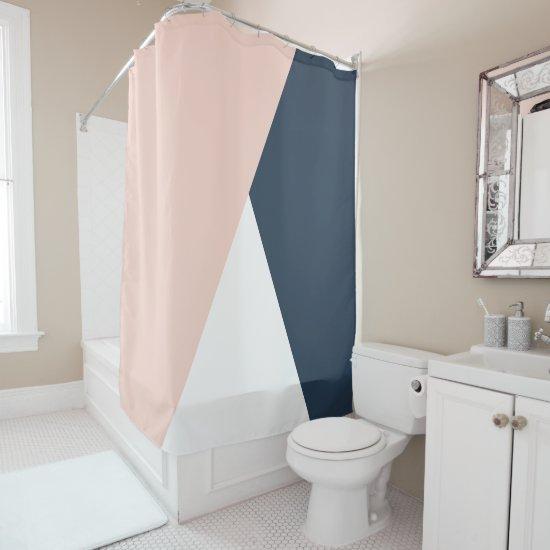 Elegant blush pink & navy blue geometric triangles shower curtain