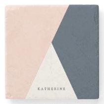 Elegant blush pink & navy blue geometric triangles stone coaster