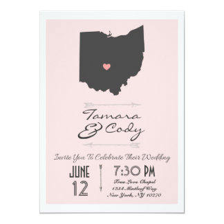 Elegant Blush Pink Ohio State Wedding Invitation