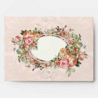 Elegant Blush Pink Vintage Floral Rose Damask Lace Envelope