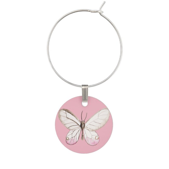 Elegant Blush Pink watercolor Butterfly Winecharm