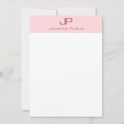 Elegant Blush Pink White Simple Template Monogram