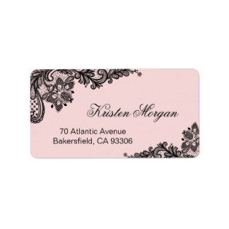 Elegant Blush Pink with Black Lace Unique Label