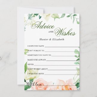 Elegant Blush Rose Greenery Wedding Well Wishes Advice Card