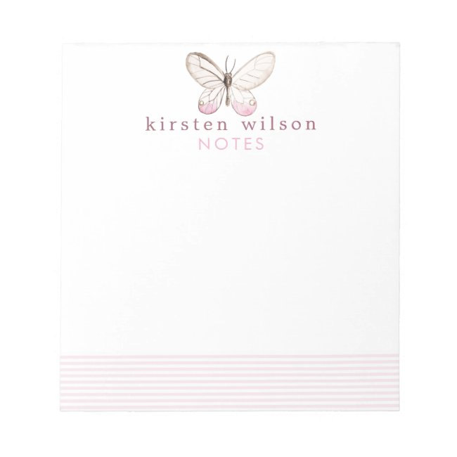 Elegant Blush Stripes & Butterfly - Personalized