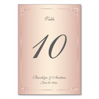 Elegant Blush Wedding Table Numbers Card