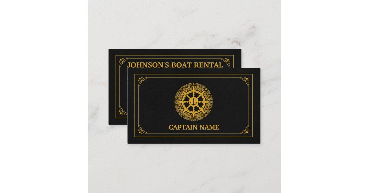 Elegant Boat Rental Black Gold (Personalize) Business Card | Zazzle.com