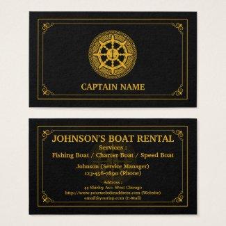 Elegant Boat Rental Black Gold (Personalize) Business Card