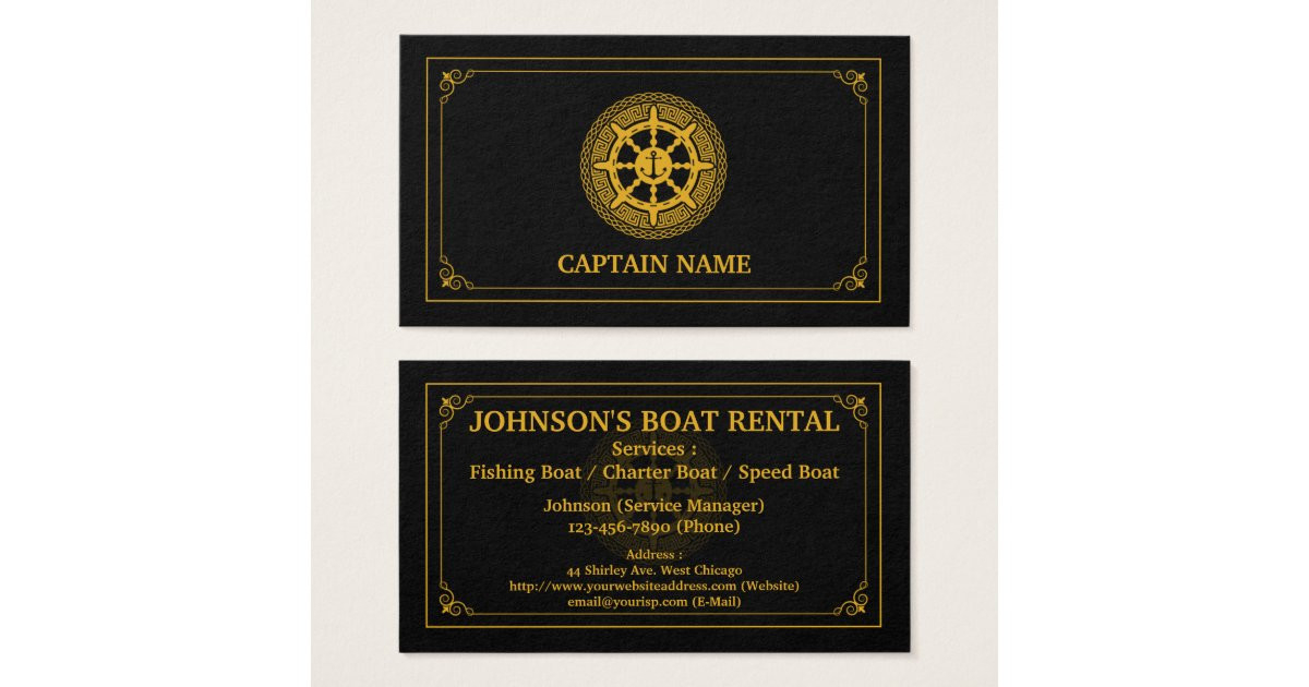 Elegant Boat Rental Black Gold (Personalize) Business Card ...