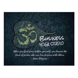 Elegant Bodhi Leaf OM Symbol Yoga Meditation Quote Postcard