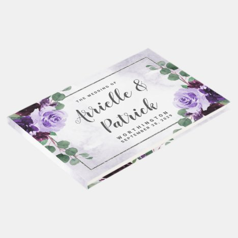 Elegant Boho Airy Floral Purple and Silver Wedding Guest Book