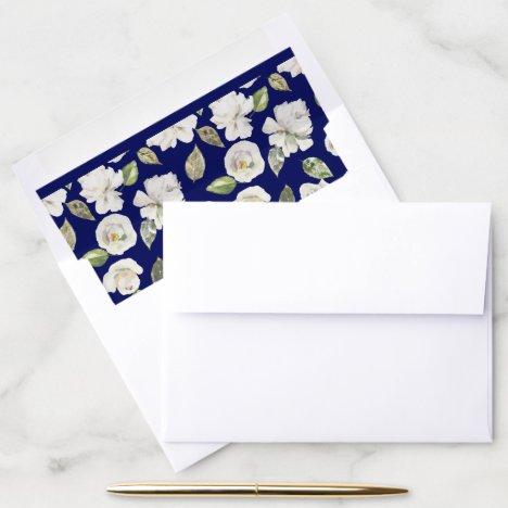 Elegant Boho Antique White Floral Wedding Envelope Liner