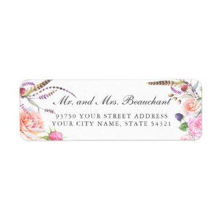 Elegant Boho Botanic Floral Roses Wedding Label