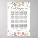 Elegant Boho Botanic Roses Wedding Seating Chart