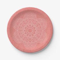 Elegant Boho Mandala Hipster Chic Peach Paper Plate