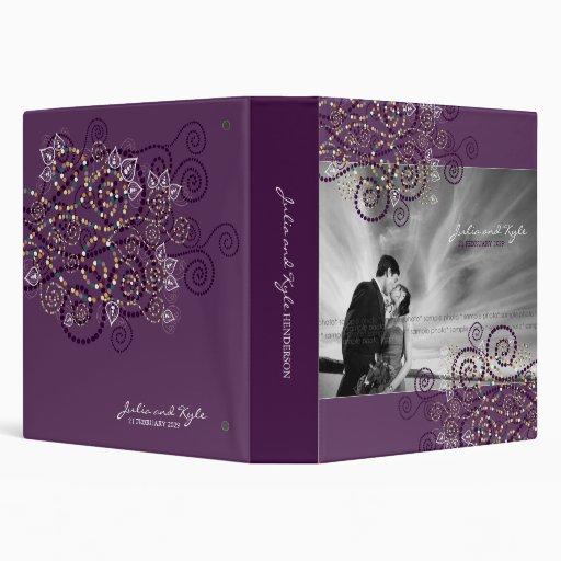 Elegant Boho Purple Spiral Ethnic Wedding Binder
