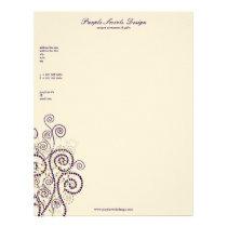 Elegant Boho Purple Spirals Artistic Deco Custom Letterhead