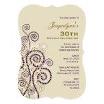 Elegant Boho Purple Spirals Birthday Party Invite Cards