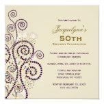 Elegant Boho Purple Spirals Birthday Party Invite Invites