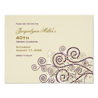 Elegant Boho Purple Spirals Birthday Save The Date Card