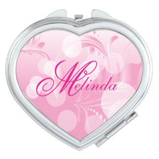 Elegant Bokeh Florid Pink & White | Personalize Makeup Mirror