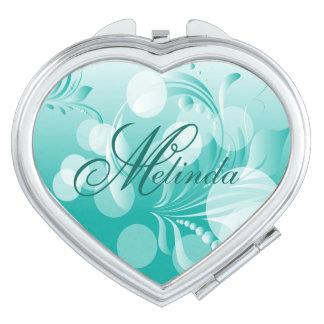 Elegant Bokeh Florid Teal & White | Personalize Vanity Mirror