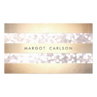 Elegant Bokeh Gold Colored Striped Light Gray Chic Double-Sided Standard Business Cards (Pack Of 100)