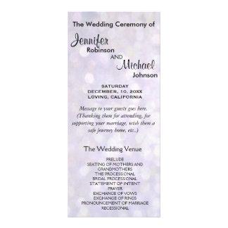 Elegant Bokeh Wedding Program Rack Card