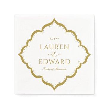 Wedding Themed Elegant Border Wedding Cocktail Napkins  (Gold)