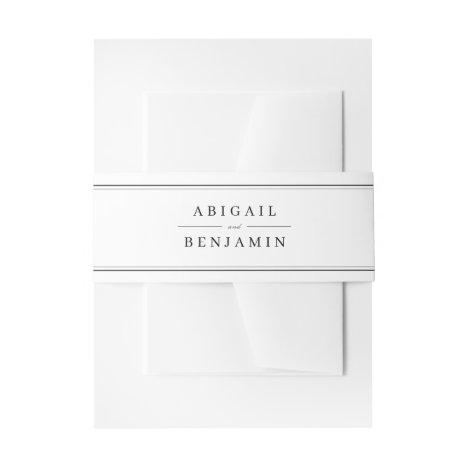 Elegant borders black and white minimalist wedding invitation belly band