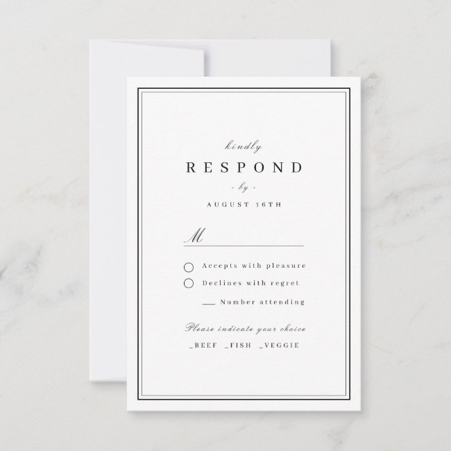 Elegant borders black and white minimalist wedding RSVP card