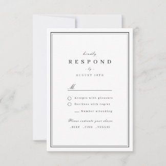 Elegant borders black and white minimalist wedding RSVP card