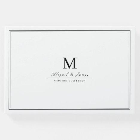 Elegant borders black white minimalist monogram guest book