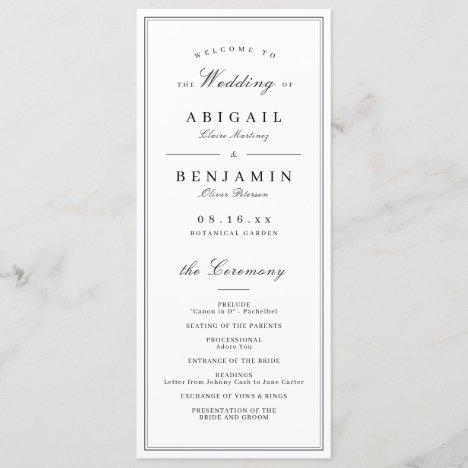 Elegant borders minimalist wedding program