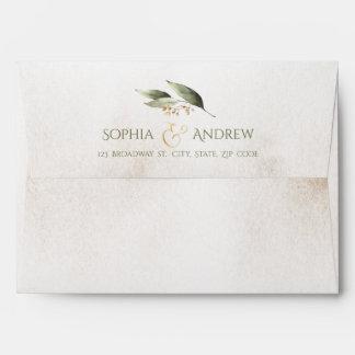 Elegant botanical greenery vintage rustic wedding envelope