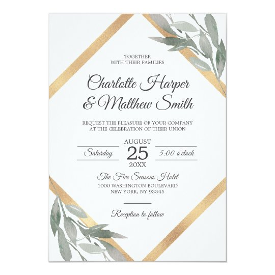 Foil Wedding Invitations.Elegant Botanical Leaf Branch Gold Foil Wedding Invitation