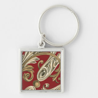 Elegant Botanical Motif with Tan Foliage Keychain