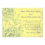 Elegant Botanical Wedding Invitations Yellow Blue