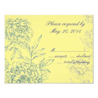Elegant Botanical Wedding RSVP Cards Yellow Blue