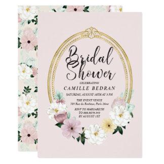 Elegant Boudoir Frame Vintage Floral Bridal Shower Card