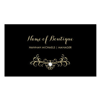 Elegant Boutique Black and Gold Diamond Sparkles Business Card Template