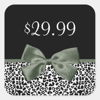 Elegant Boutique Leopard Print Mossy Green Bow Square Sticker