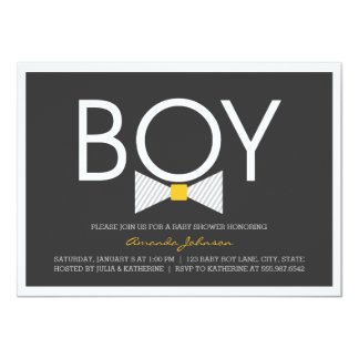 Elegant Bow Tie Boy Baby Shower Invitations