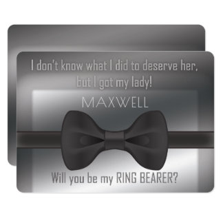 Elegant Bowtie Will You Be My Ring Bearer Card