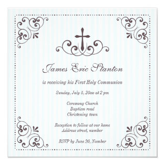 Elegant boys christening/baptism/first communion card